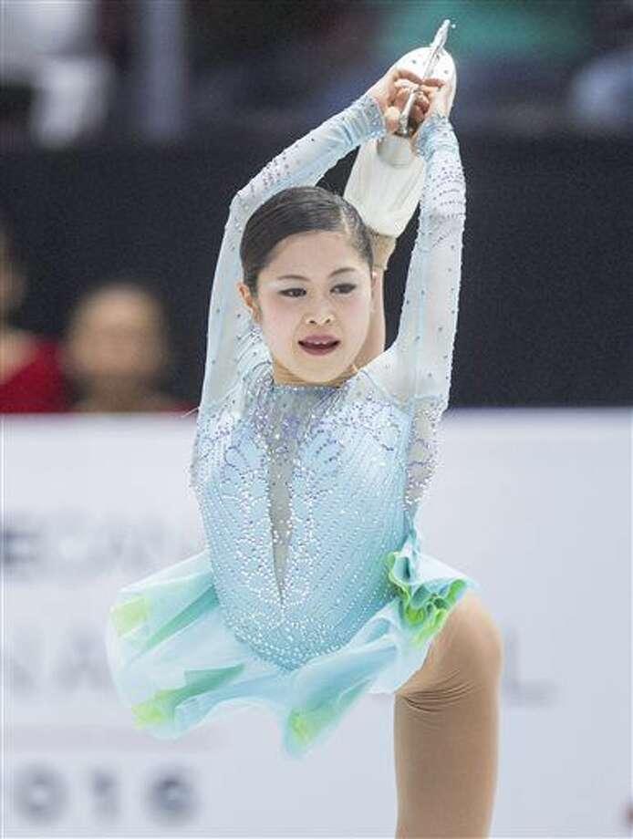 Japan's Satoko Miyahara performs in the ladies short program at Skate Canada International figure skating event, Friday, Oct. 28, 2016 in Mississauga, Ontario. (Frank Gunn/The Canadian Press via AP)