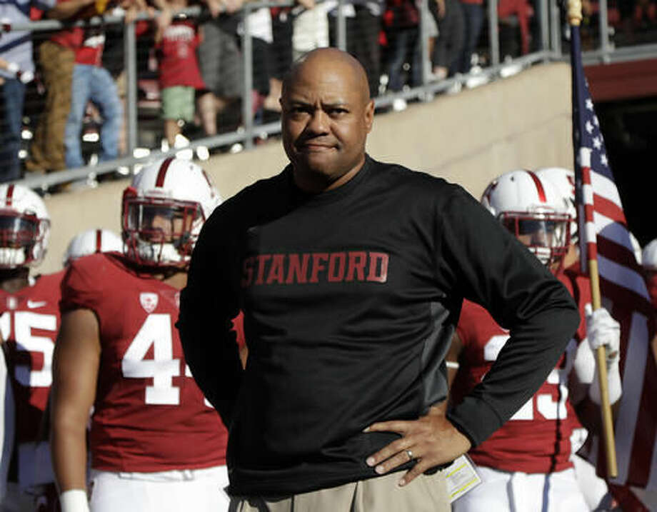 FILE - In this Sept. 17, 2016, file photo, Stanford head coach David Shaw prepares to enter the field with his team before an NCAA college football game against Southern California, in Stanford, Calif. Stanford and Arizona were once teams with designs on winning their respective divisions. Heaidng into Saturday's game, their lone goal now is to become bowl eligible. (AP Photo/Marcio Jose Sanchez, File)