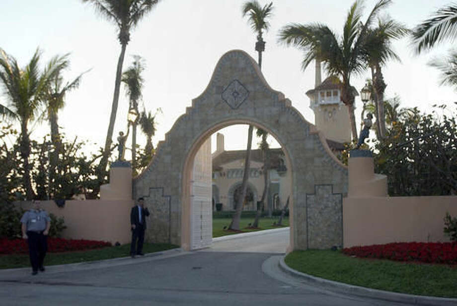 FILE - In this Jan. 22, 2005 file photo, the entrance of Mar-a-Lago in West Palm Beach, Fla. Donald Trump received a $17 million insurance payment in 2005 for hurricane damage to Mar-a-Lago, his private club in Palm Beach, but The Associated Press found little evidence of such large-scale damage. (AP Photo/Alan Diaz, File)