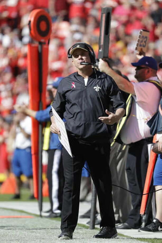 New Orleans Saints head coach Sean Payton gestures on the sideline during the second half of an NFL football game against the Kansas City Chiefs in Kansas City, Mo., Sunday, Oct. 23, 2016. (AP Photo/Jeff Roberson)