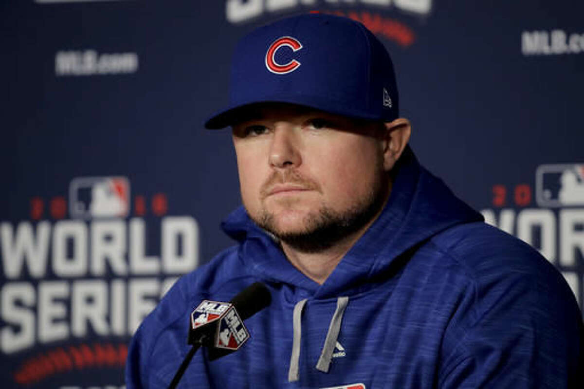 Chicago Cubs starting pitcher Jon Lester talks during a news conference for baseball's upcoming World Series against the Cleveland Indians on Monday, Oct. 24, 2016 in Cleveland. (AP Photo/Charlie Riedel)