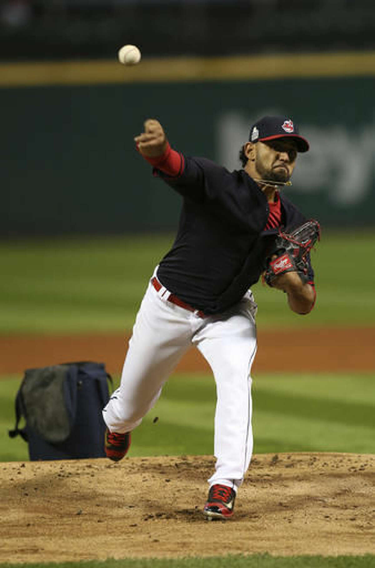 Cleveland Indians' Danny Salazar pitches a simulated game during a team practice for baseball's upcoming World Series against the Chicago Cubs, Sunday, Oct. 23, 2016, in Cleveland. (AP Photo/Aaron Josefczyk