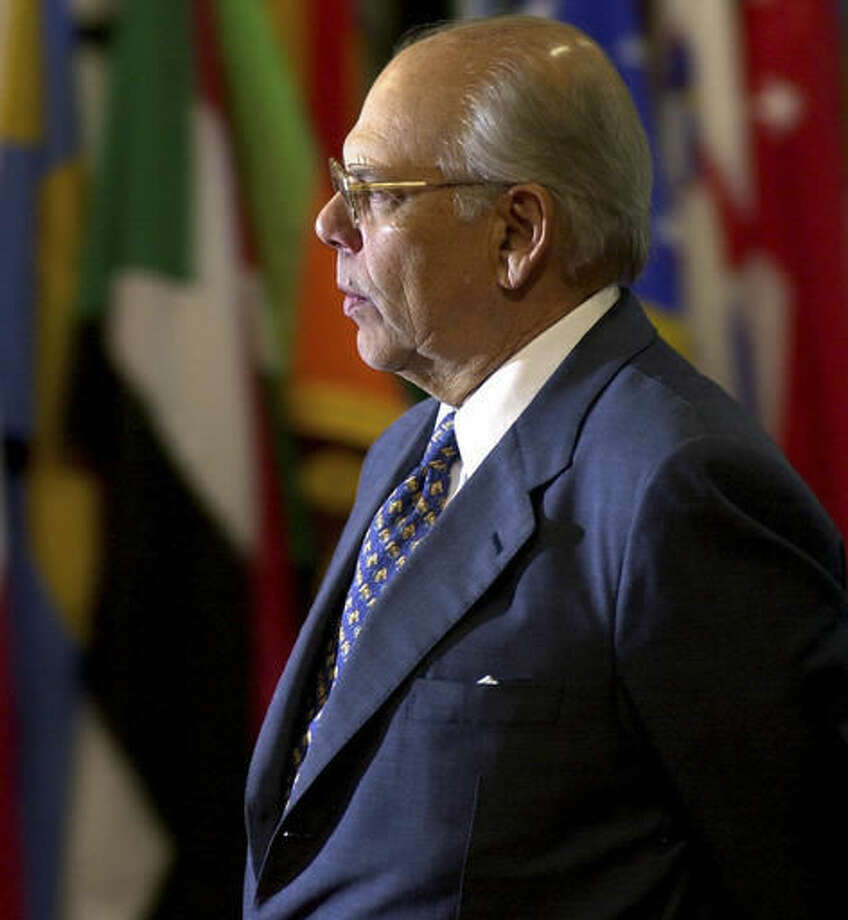 FILE - In this March 21, 2002 file photo, Uruguay's former President Jorge Batlle arrives for the United Nations International Conference on Financing for Development in Monterrey, Mexico. Batlle, one of Uruguay's most important politicians of the 20th century, has died, according to Hospital officials in Uruguay. (AP Photo/Tomas Munita, File)