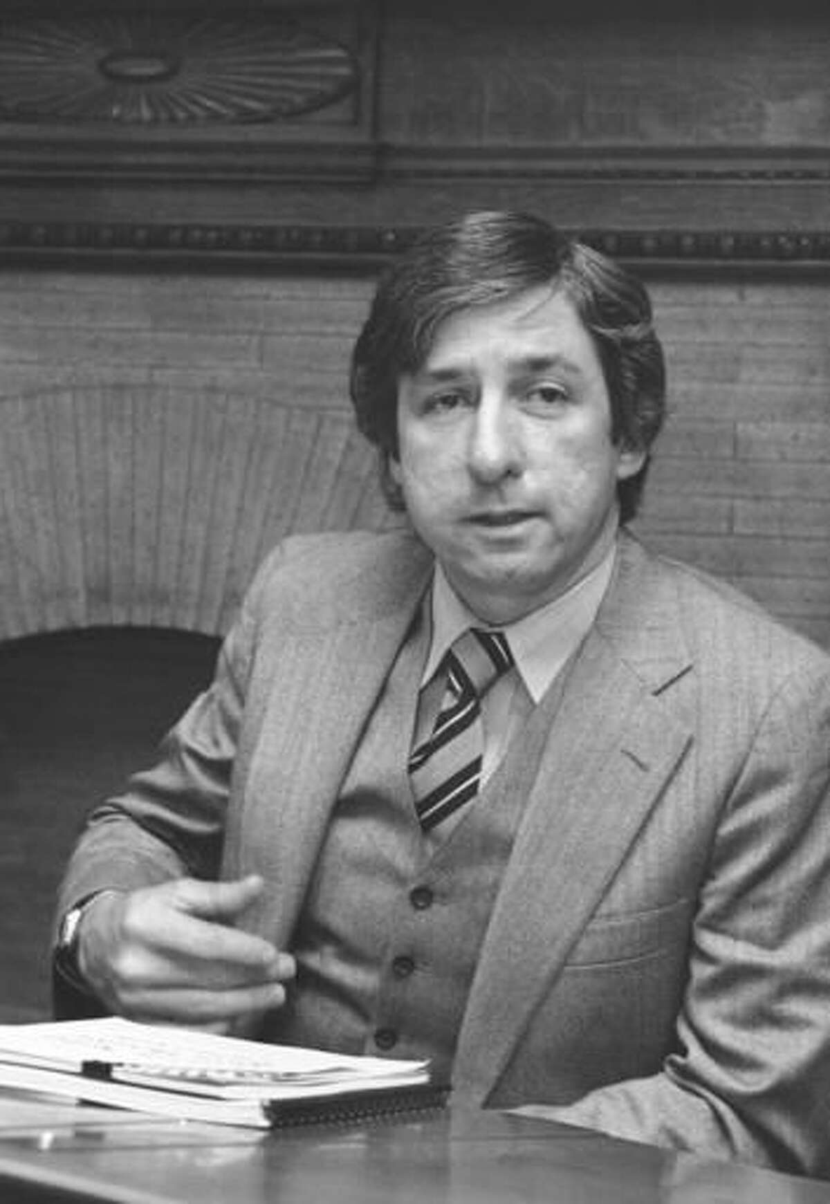 FILE - In this Jan. 17, 1980 file photo, anti-nuclear activist Tom Hayden as he meets with the Energy Development Caucus, a group of lawmakers who share Hayden's enthusiasm for alternative energy, at the Statehouse in Boston. Hayden, the famed 1960s anti-war activist who moved beyond his notoriety as a Chicago 8 defendant to become a California legislator, author and lecturer, has died at age 76. His wife, Barbara Williams, says Hayden died on Sunday, Oct. 23, 2016, in Santa Monica of a long illness. (AP Photo/Joanne Rathe, File)
