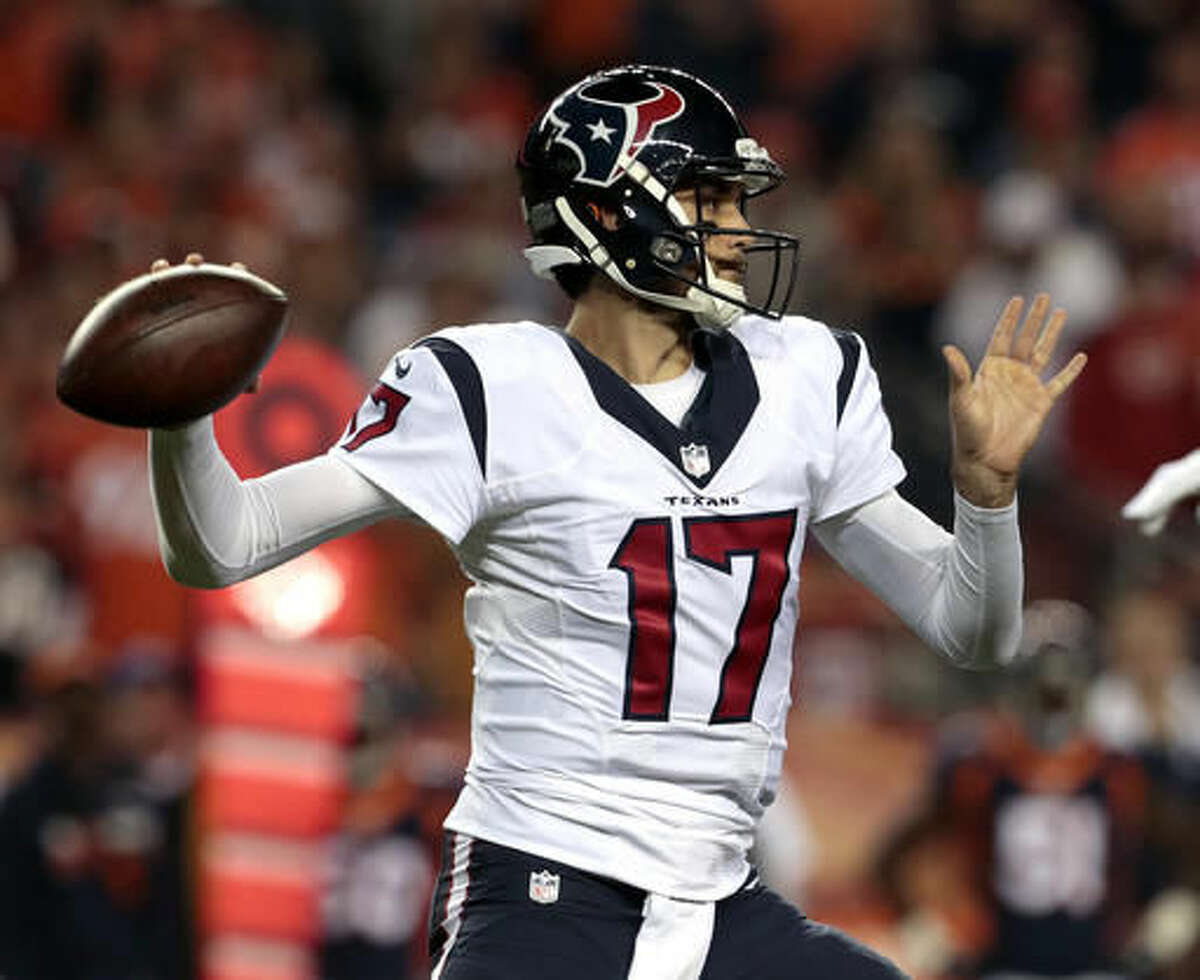 Houston Texans quarterback Brock Osweiler (17) throws against the Denver Broncos during the first half of an NFL football game, Monday, Oct. 24, 2016, in Denver. (AP Photo/Joe Mahoney)