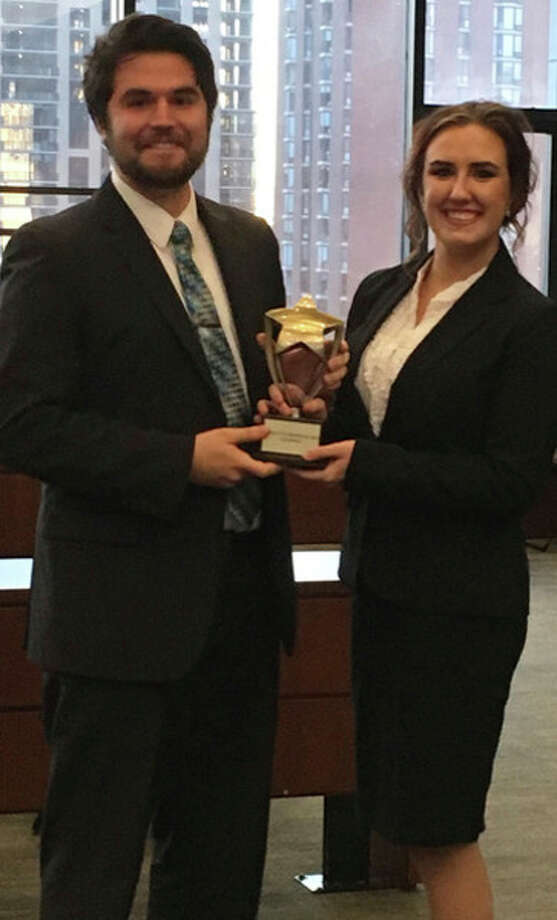 Saginaw Valley State University students Connor Hughes and Madison Laskowski helped win a regional moot court competition in Chicago and earned an invitation to the national tournament in Florida in January.