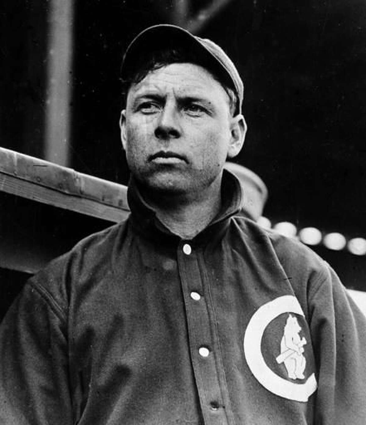 """FILE - In this 1912 file photo, Mordecai """"Three Finger"""" Brown, Chicago Cubs star pitcher, is shown in Chicago. Joe Tinker, Johnny Evers, Frank Chance and Brown helped lead the Chicago Cubs to their last World Series championship 108 years ago. (AP Photo/File)"""