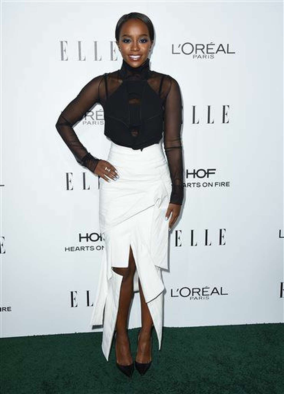 Aja Naomi King arrives at the 23rd annual ELLE Women in Hollywood Awards at the Four Season Hotel on Monday, Oct. 24, 2016, in Los Angeles. (Photo by Jordan Strauss/Invision/AP)