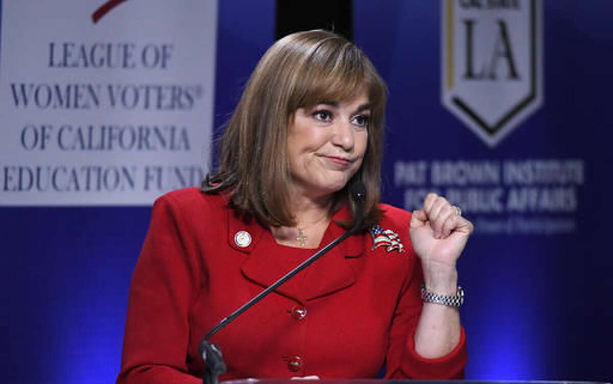 FILE - In this Oct. 5, 2016 file photo, Democratic California U.S. Senate candidate Congresswoman Loretta Sanchez speaks during a debate against California Attorney General Kamala Harris, not shown, in Los Angeles. Come Election Day, California could legalize pot smoking. The state's new U.S. senator will be black or Hispanic, a first. Voters could end the death penalty, and revive bilingual education in schools. Behind it all, a wave of new voters - many younger, Hispanic, or both - is contributing to generational, demographic and cultural shifts that are being witnessed on the Nov. 8 ballot. (AP Photo/Mark J. Terrill, File)
