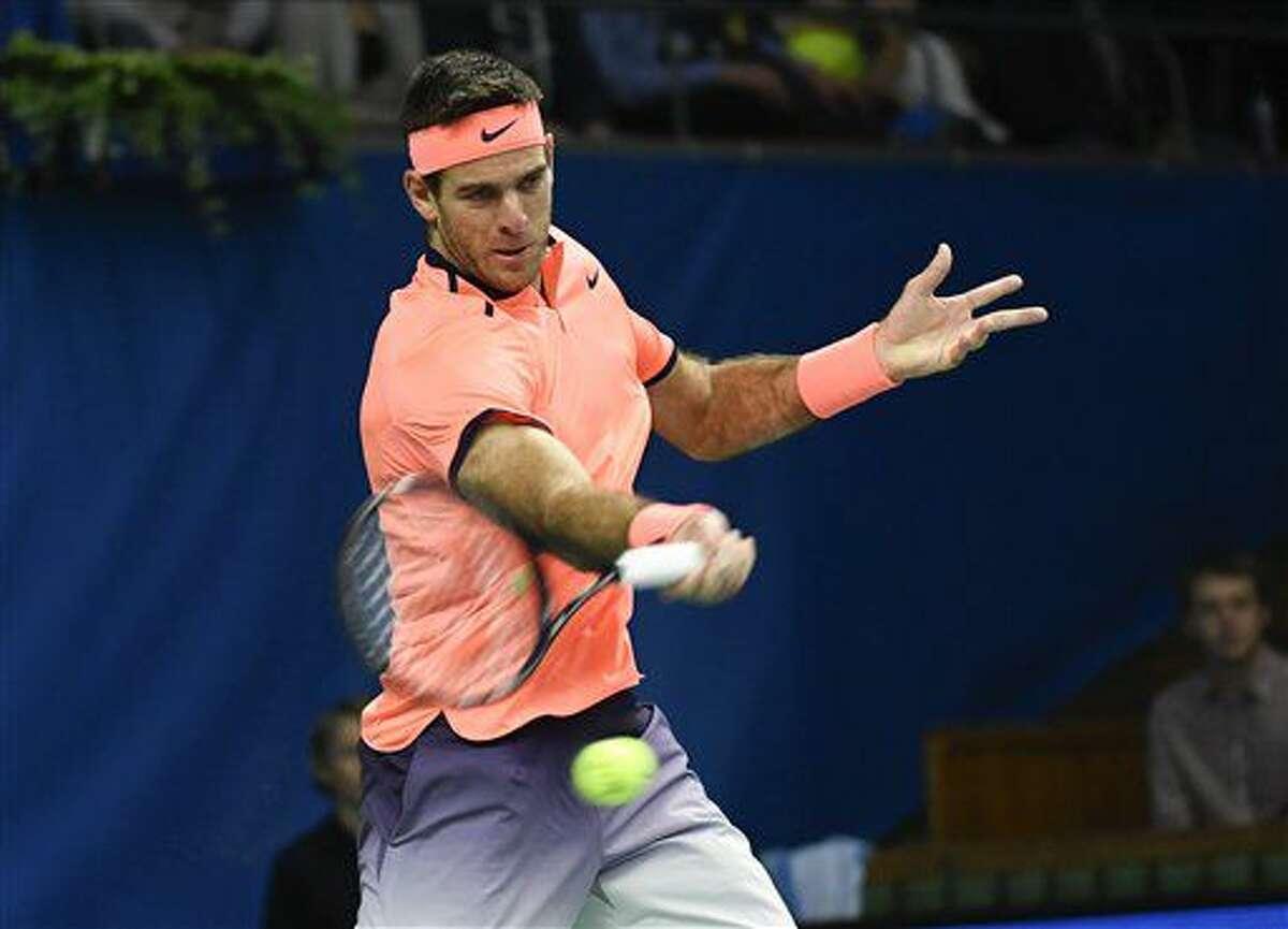 Spain's Juan Martín del Potro returns to Jack Sock of the US, during the men's final tennis match, at the ATP Stockholm Open tennis tournament in Stockholm, Sunday, Oct. 23, 2016. (Jonas Ekstromer/TT via AP)