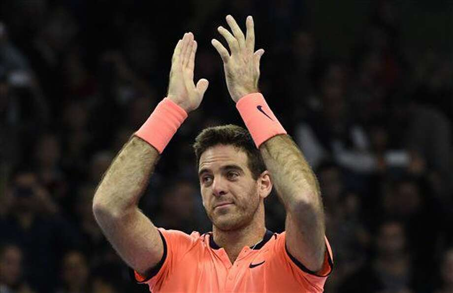 Spain's Juan Martin del Potro celebrates after defeating Jack Sock of US in the men's final match at the ATP Stockholm Open tennis tournament in Stockholm on Sunday Oct. 23, 2016. (Jonas Ekstromer /TT via AP)