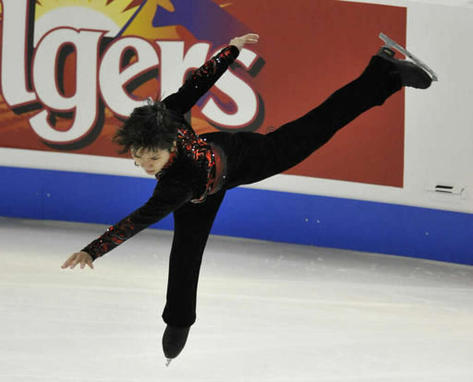 Shoma Uno, of Japan, competes in the men's free skating during the Skate America competition Sunday, Oct. 23, 2016, in Hoffman Estates, Ill. (AP Photo/Paul Beaty)