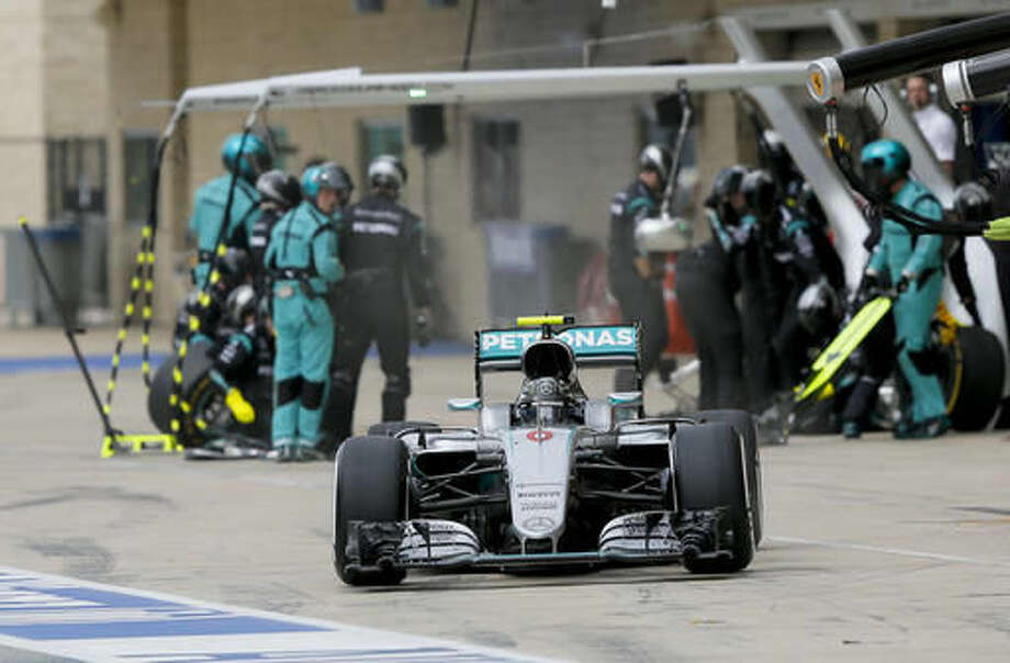 Mercedes driver Nico Rosberg, of Germany, leaves the pits after a tire change during the Formula One U.S. Grand Prix auto race at the Circuit of the Americas, Sunday, Oct. 23, 2016, in Austin, Texas. (AP Photo/Tony Gutierrez, Pool)