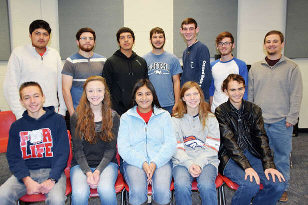 PHS students named to the All-Region Bands are Andres Garcia (seated left), Amanda Holt, Virginia Monreal, Katelyn Kelley, Christian Rushin, Fernando Flores (standing left), John David Andrade, Gilbert Gutierrez, Colton Langston, Avan Daughrity, Luke Prayor and Caleb Martin.