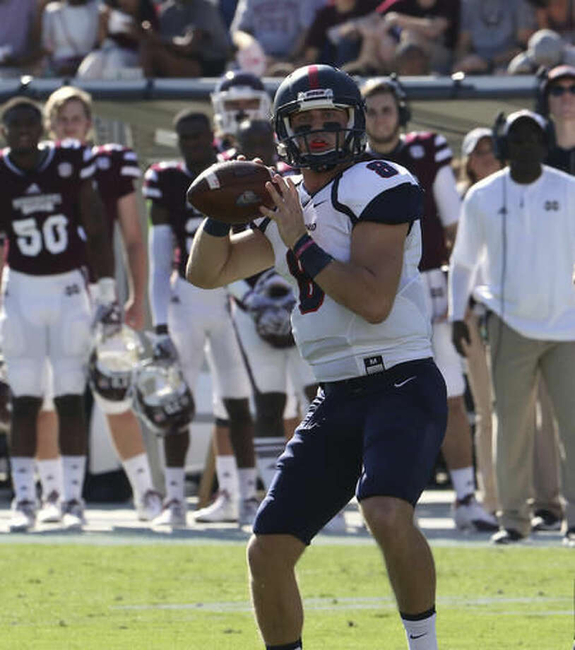 Samford quarterback Devlin Hodges (8) prepares to pass during the first half of their NCAA college football game against Mississippi State in Starkville, Miss., Saturday, Oct. 29, 2016. (AP Photo/Jim Lytle)