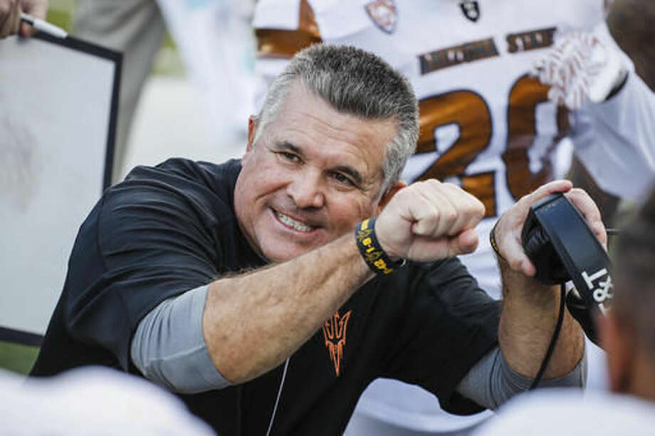 Arizona State head coach Todd Graham coaches on the sidelines against Oregon in an NCAA college football game Saturday, Oct. 29, 2016 in Eugene, Ore. (AP Photo/Thomas Boyd)