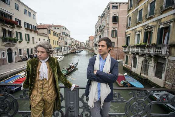 """Gael García Bernal (right) plays the conductor in """"Mozart in the Jungle."""""""