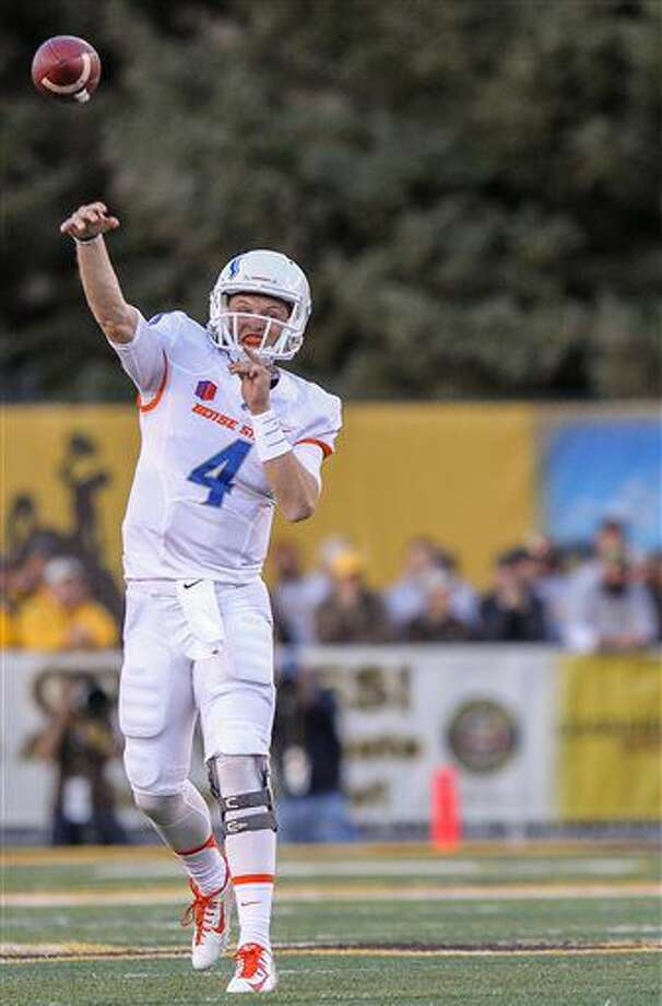 Boise State quarterback Brett Rypien during an NCAA college football game against Wyoming at War Memorial Stadium in Laramie, Wyo., Saturday, Oct. 29, 2016. (AP Photo/Shannon Broderick)