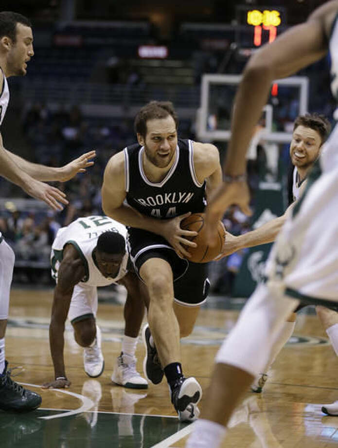 Brooklyn Nets' Bojan Bogdanovic drives against the Milwaukee Bucks during the second half of an NBA basketball game Saturday, Oct. 29, 2016, in Milwaukee. (AP Photo/Jeffrey Phelps)