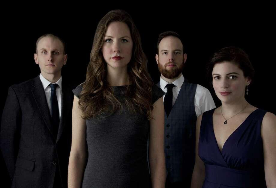 (from L to R): Ian Antonio (percussion), Kate Soper (voice/composer), Josh Modney (violin), and Erin Lesser (flute).  Photo credit: Alexander Perrelli.