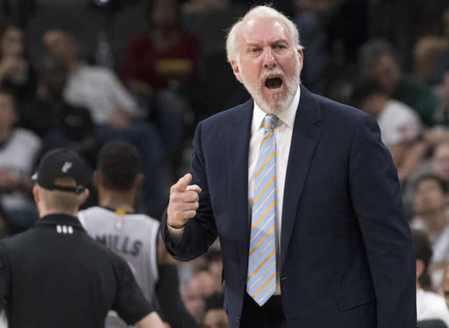 San Antonio Spurs head coach Gregg Popovich yells at a referee during the first half of an NBA basketball game against the New Orleans Pelicans, Saturday, Oct. 29, 2016, in San Antonio. San Antonio won 98-79. (AP Photo/Darren Abate)