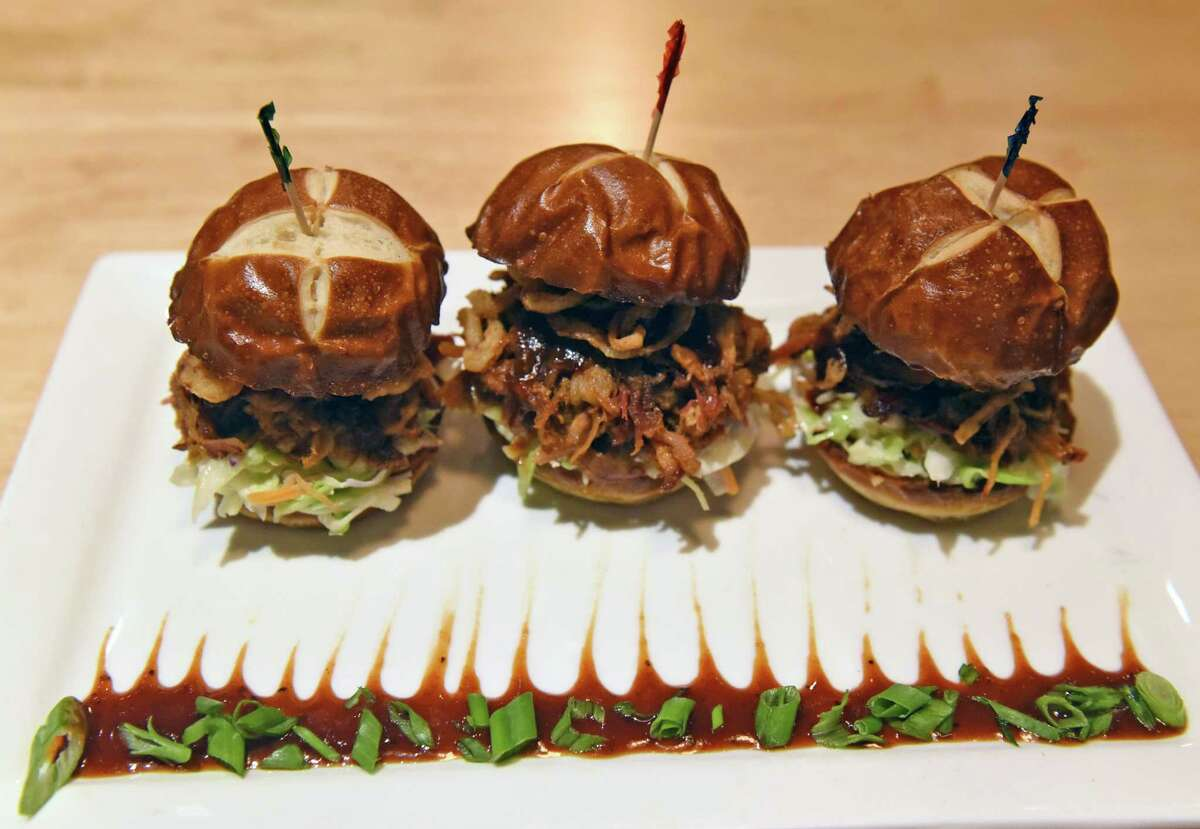 Pulled pork sliders at the Warehouse BBQ on Tuesday Nov. 29, 2016 in Colonie, N.Y. (Michael P. Farrell/Times Union)