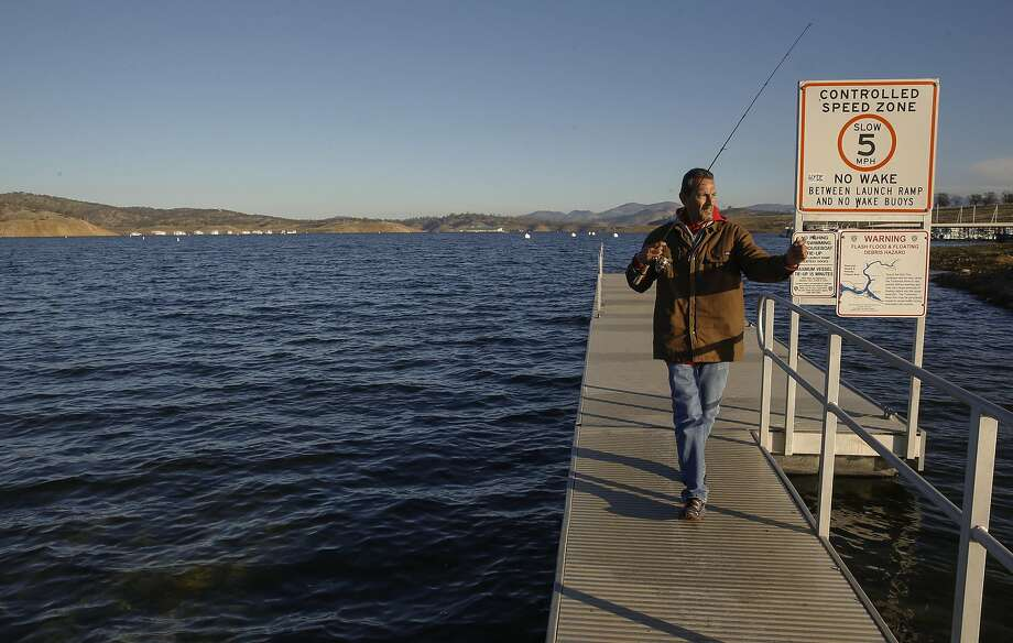 Fisherman Steve Berumen, from Merced had caught his limit of trout in their first two hours after arriving at Lake Don Pedro in La Grange, California, on Thursday December 1, 2016. Photo: Michael Macor, The Chronicle