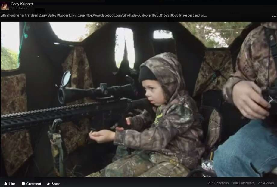 Screengrab of Cody Klapper's Nov. 29 Facebook video showing his daugter, 7-year-old Lilly, shooting her first deer.
