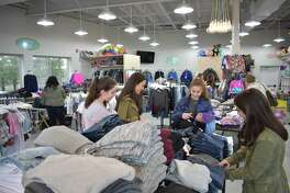 Westport residents Lily Valente, second from left, and sisters Tallulah, Coco and Daisy Laska made the Westport store Groove their second stop during an afternoon of shopping on Black Friday, Nov. 25.