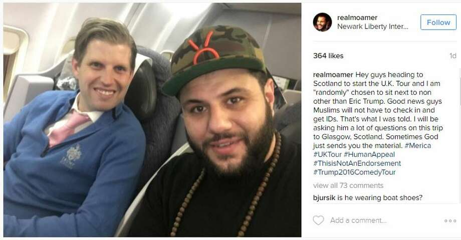 Houston-raised Muslim comedian Mo Amer shares a ride with Donald Trump's son.>>Keep click to learn more about Eric Trump and the rest of his family.  Photo: Instagram.com/realmoamer