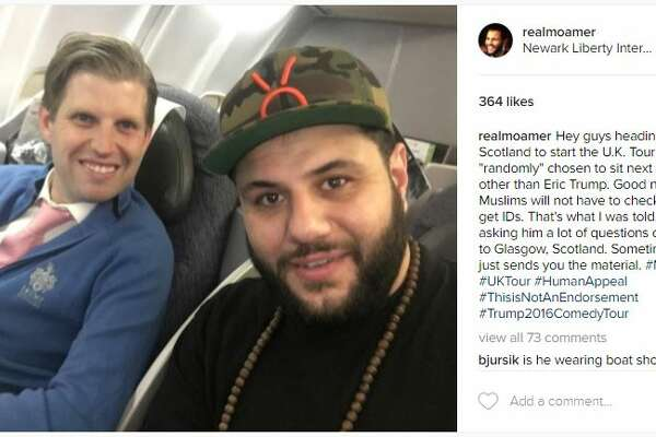Houston-raised Muslim comedian Mo Amer shares a ride with Donald Trump's son.