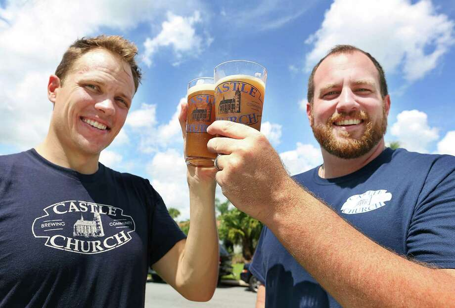 Jared Witt, left, and Aaron Schmalzle plan to open a brew pub in Orlando in coalition with their Lutheran faith. Photo: Stephen M. Dowell, MBR / Orlando Sentinel
