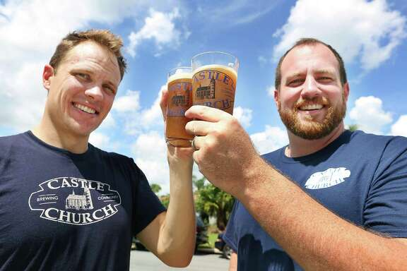 Jared Witt, left, and Aaron Schmalzle plan to open a brew pub in Orlando in coalition with their Lutheran faith.