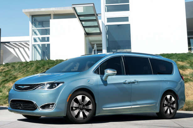 The 2017 Chrysler Pacifica Hybrid has plug-in capability and can go up to 30 miles on a single battery charge. It has a 530-mile range using a combination of gasoline and electric power. This version has the unique Silver Teal exterior color available only on the hybrid.