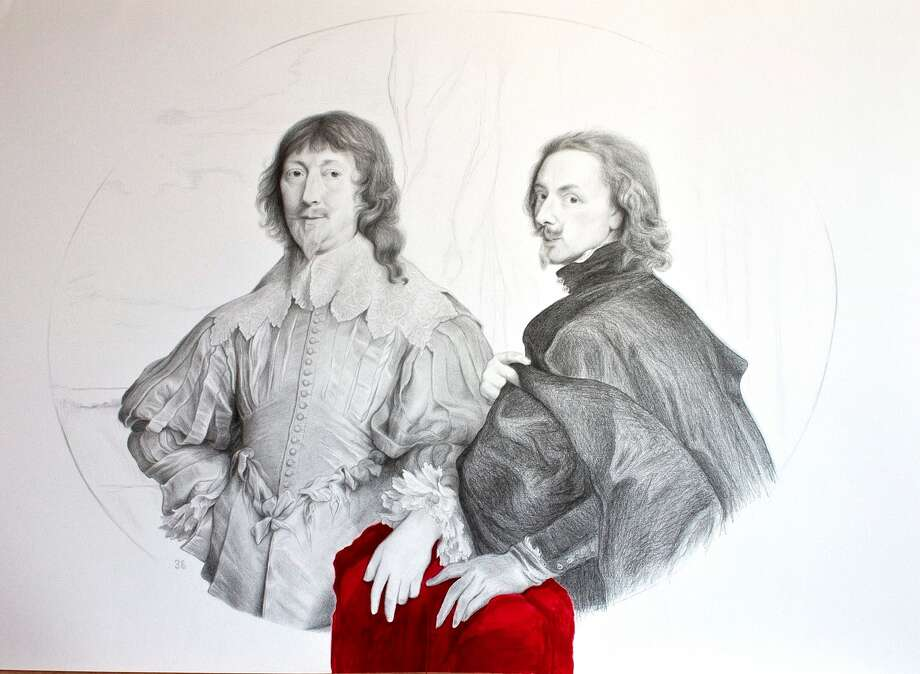 """Spanish artist Amaya Bombin gained exclusive access to draw copies of masterpieces at the Museo del Prado de Madrid, Spain. (""""Anton Van Dyck with Sir Endymion Porter"""".) Photo: Courtesy Of Amaya Bombin"""