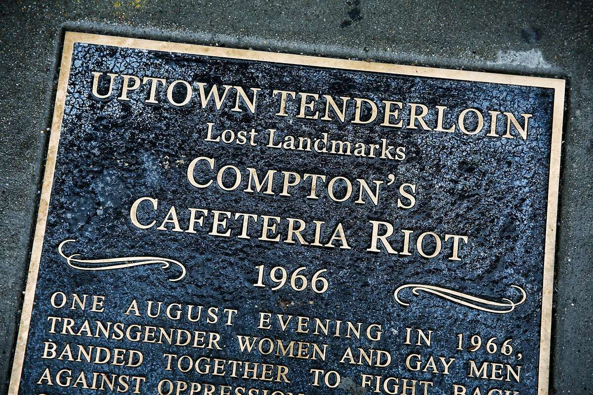 A plaque is seen in the sidewalk to commemorate Compton's Cafeteria, in San Francisco, California, on Wednesday, November 30, 2016.