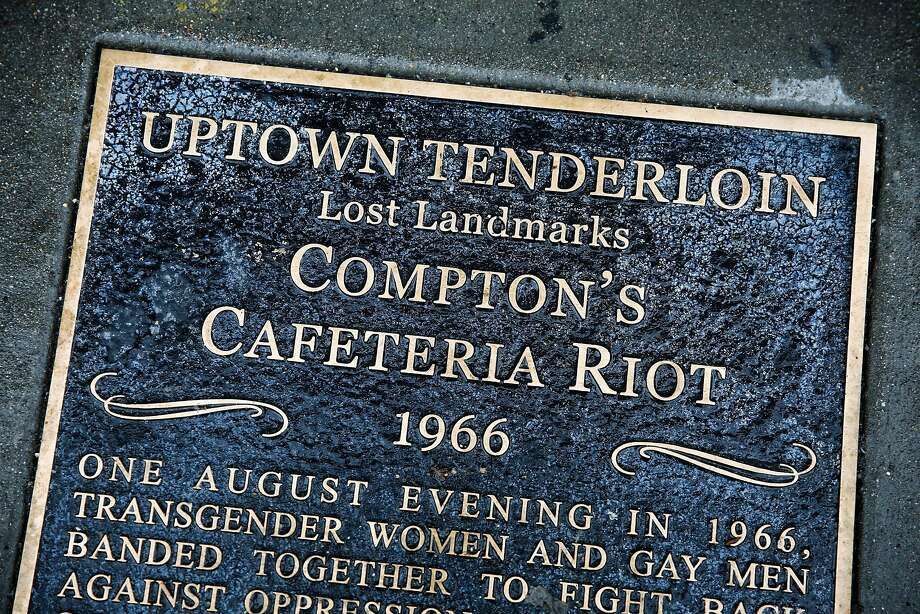 A plaque on the sidewalk commemorates Compton's Cafeteria. Photo: Gabrielle Lurie, The Chronicle