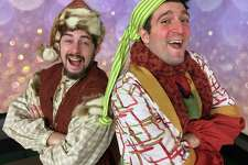 "Justin Rugg, left, as Santa Claus, and Andrea Pane, as Calon, appear in the Pantochino Productions' ""The Life & Adventures of Santa Claus,"" a new musical based on the book by L. Frank Baum at the Center for the Arts in Milford through Sunday, Dec. 18."