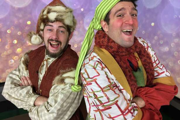 """Justin Rugg, left, as Santa Claus, and Andrea Pane, as Calon, appear in the Pantochino Productions' """"The Life & Adventures of Santa Claus,"""" a new musical based on the book by L. Frank Baum at the Center for the Arts in Milford through Sunday, Dec. 18."""