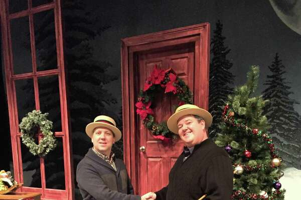 "Jayson Elliott, right, stars as an old-time vaudeville star and his present-day great- grandson, while Kilty Reidy plays the other half of the act, past and present, in ""Christmas Inn"" at the Westchester Broadway Theatre through Dec. 23."