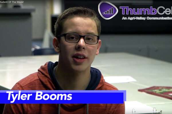 Tyler Booms is this week's Student of the Week.