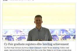Sean Osborn, a 2011 graduate of Cy-Fair High School, is the first person in Texas to bowl a perfect 900 in three consecutive games.  (Facebook/Cy-Fair ISD)