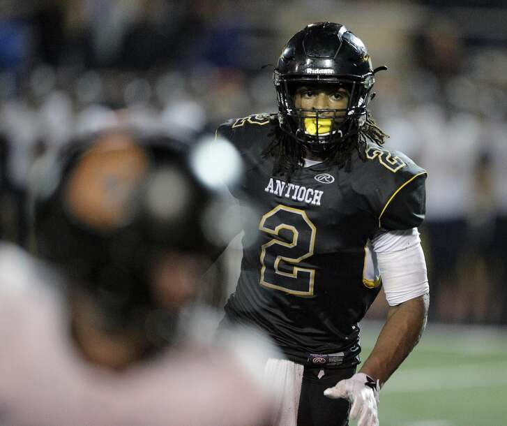 Najee Harris (2) on defense as the Antioch Panther played the California High School Grizzlies at Antioch High School in Antioch, Calif., on Saturday, November 19, 2016.