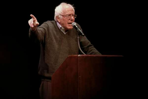 Former presidential candidate Senator Bernie Sanders talks to the crowd at Zellerbach Hall on the UC Berkeley campus in Berkeley, California, on Friday December 2, 2016.