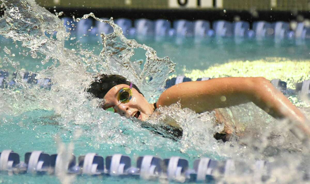 Stamford-Westhill's Dominika Brice swims the last leg of the 400 free relay during Saturday's State Open girls swimming championship meet at Yale University. Greenwich won the state open title for the second straight season.