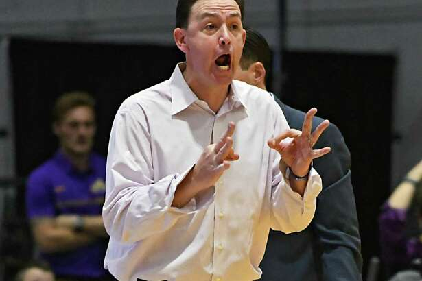 University at Albany head coach Will Brown screams from the side line during the Albany Cup basketball game against Siena at UAlbany on Sunday, Nov. 27, 2016 in Albany, N.Y. (Lori Van Buren / Times Union)