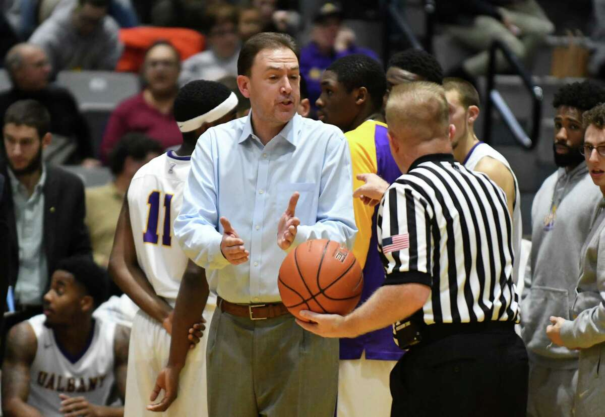 UAlbany's coach Will Brown during their college basketball game against Holy Cross at SEFCU Arena on Wednesday Nov. 30, 2016 in Albany, N.Y. (Michael P. Farrell/Times Union)