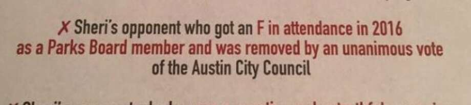 Sheri Gallo, an Austin City Council member, made a Pants on Fire claim (shown here) about challenger Alison Alter in this November 2016 mailer (excerpted from a Facebook post Nov. 29, 2016). Photo: Selby, Gardner (CMG-Austin)