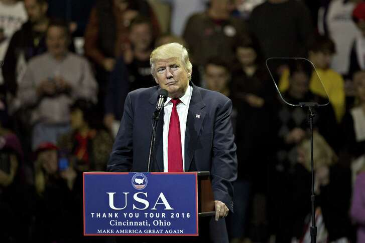 U.S. President-elect Donald Trump pauses while speaking at an event in Cincinnati, Ohio, U.S., on Thursday, Dec. 1, 2016. President-elect Trump exulted in his surprise victory over Democrat Hillary Clinton, mocking critics who said before the election that polls showed he had no path to the White House. Photographer: Daniel Acker/Bloomberg