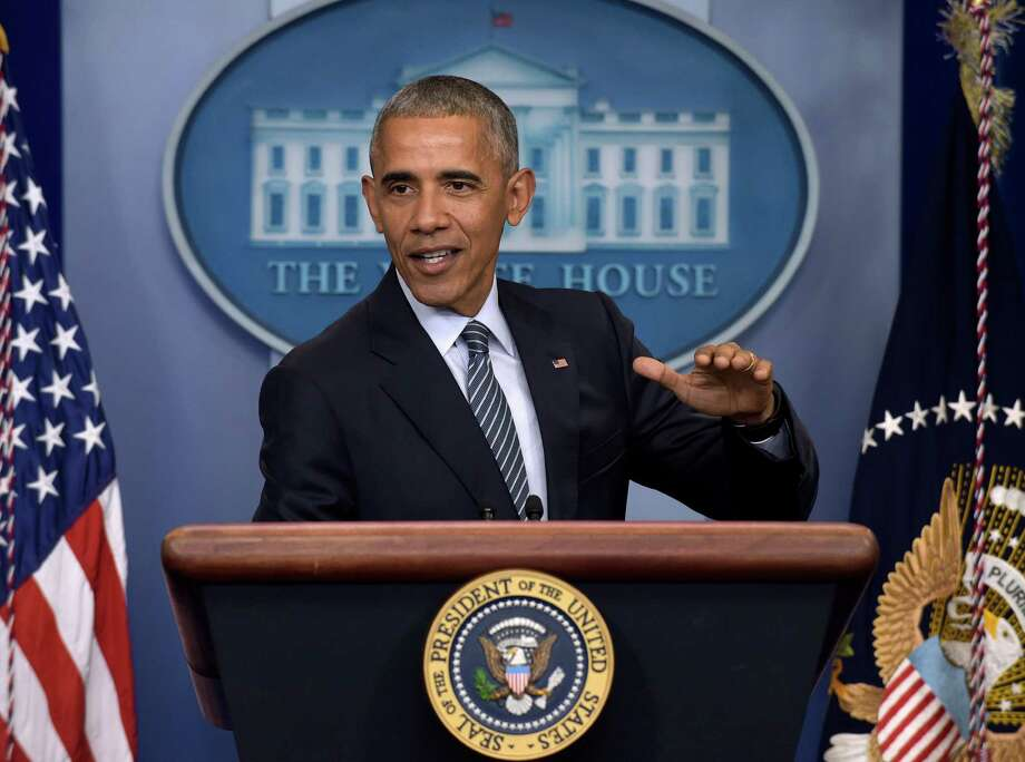FILE - In this Nov. 14, 2016, file photo, President Barack Obama speaks during a news conference in the Brady press briefing room at the White House in Washington. The Reublican-led House is pushing ahead with a $611 billion defense policy bill that prohibits closing the prison at Guantanamo Bay, Cuba, forbids the Pentagon from trimming the number of military bases and awards U.S. troops their largest pay raise in six years. (AP Photo/Susan Walsh, File) Photo: Susan Walsh, STF / Copyright 2016 The Associated Press. All rights reserved.